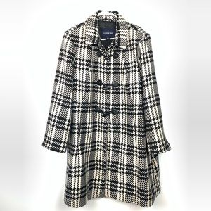 Lands' End | Women's Plus Size B&W Plaid Pea Coat